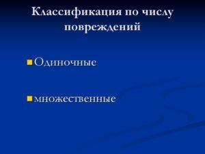 Классификация по количеству повреждений