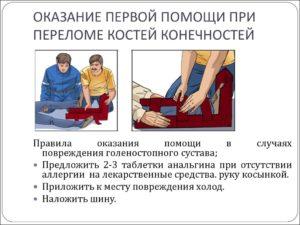 Первая помощь при переломе костей конечности. Рис. 1