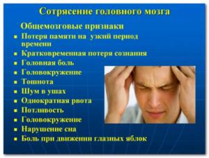 Основные признаки сотрясения головного мозга