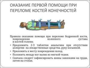 Первая помощь при переломе костей конечностей
